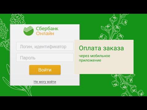 Оплата заказа через мобильное приложение Сбербанк онлайн.