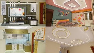 Happy hearts Apartment LB Nagar Complete home interior design Falseceiling and cupboards designs