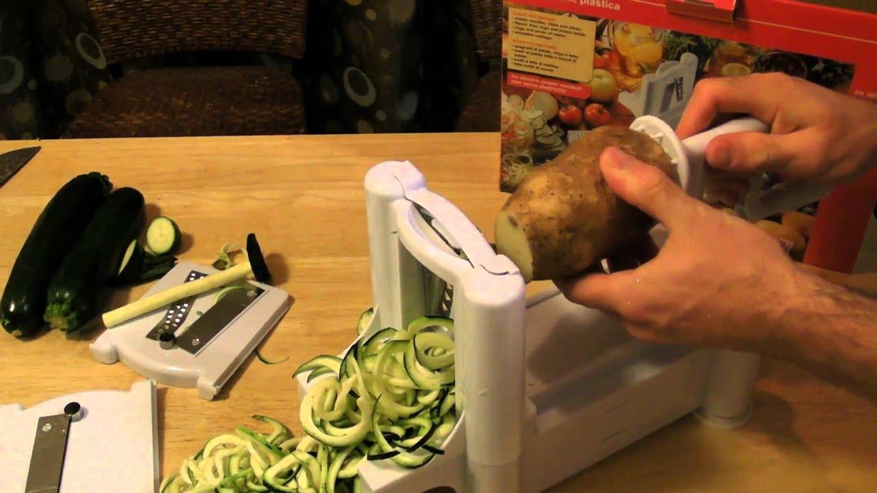 universal tri blade mandoline spiral slicer review zucchini pasta youtube. Black Bedroom Furniture Sets. Home Design Ideas