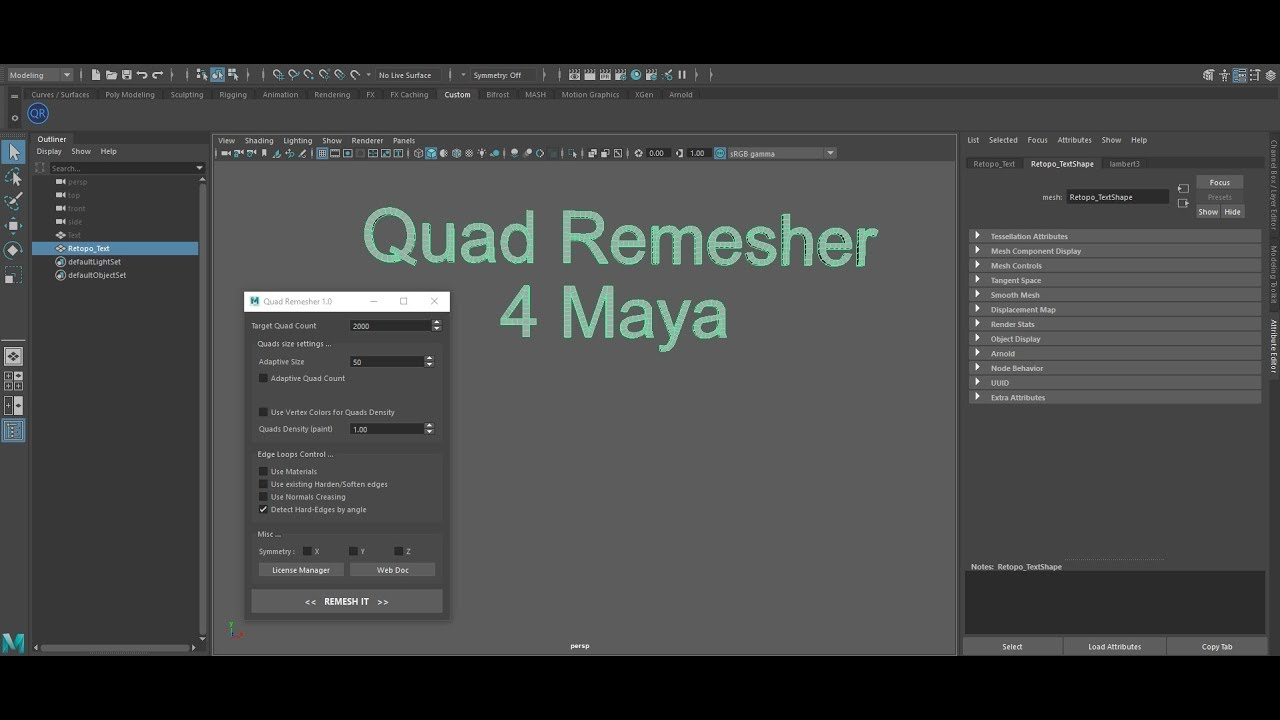 QuadRemesher tool released for Max, Maya and Modo - CGPress