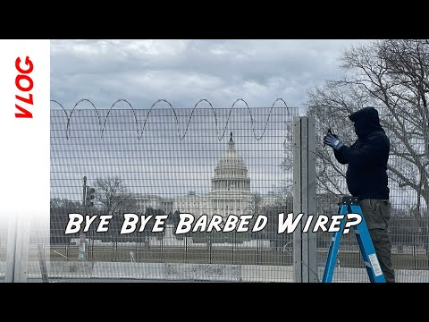 US Capitol Barbed Wire being removed by work crews today