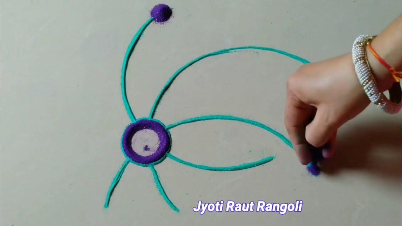 Satisfying rangoli design # easy and beautiful everyday rangoli design by Jyoti Raut rangoli