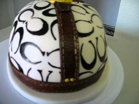 Coach Purse Inspired Cake With Leather Fondant Youtube