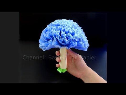 Basteln mit Papier: Blumenstrauß als Deko aus Papier-Servietten selber machen. DIY Hochzeitsdeko