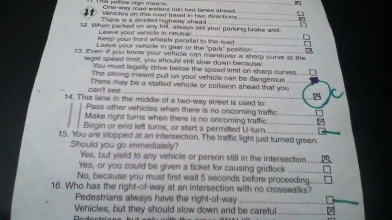 California dmv 2013 answer sheet - YouTube