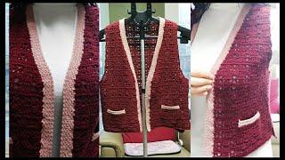 브이넥 니트조끼 뜨기 crochet vest tutor…