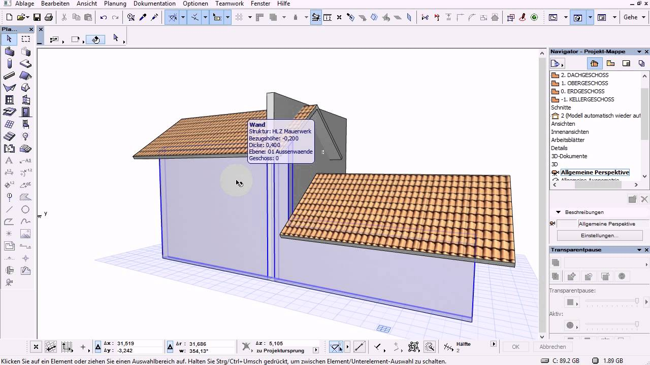 ArchiCad 16 Mini Tut - Wand mit Dach verbinden - trimmen - immer ...