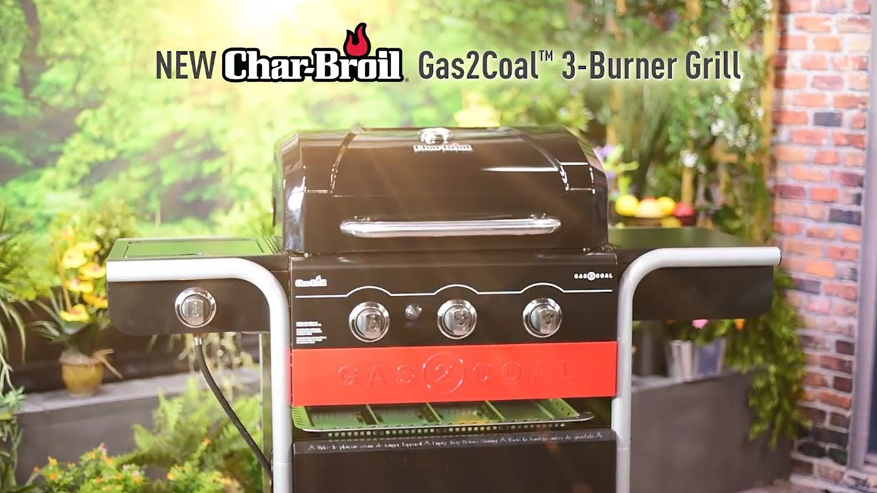 char-broil gas2coal™ 3-burner hybrid grill - youtube