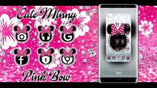 Cute minny pink Bow Silver Diamond Theme screenshot 1