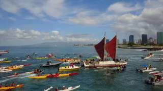 Hokulea Homecoming @Magic Island 2017 Drone footage