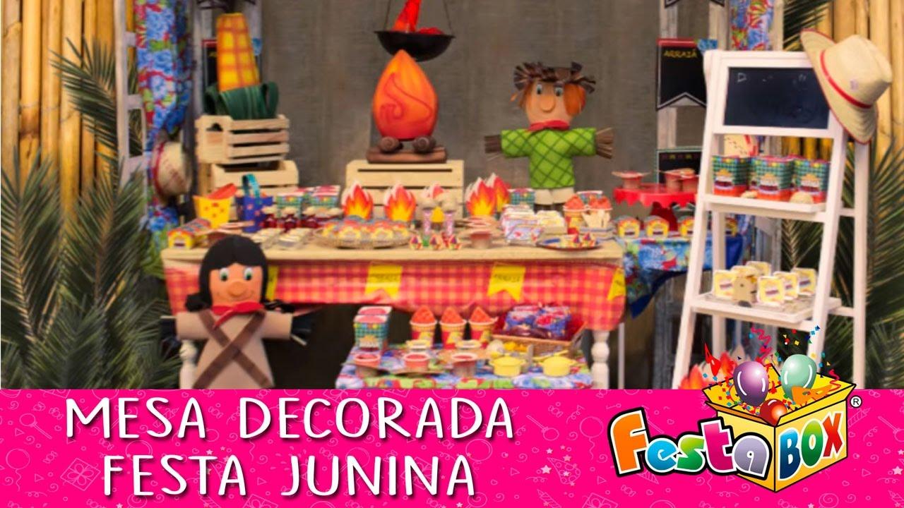 Faça uma linda mesa de Festa Junina YouTube -> Decoração De Mesa Para Festa Junina Simples