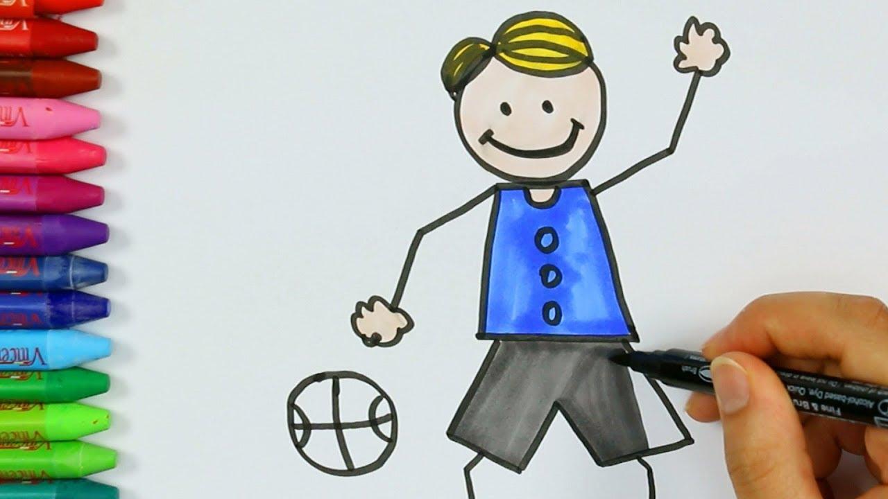 Dibujar Niño Jugando Al Baloncesto Juego De Pintar Con