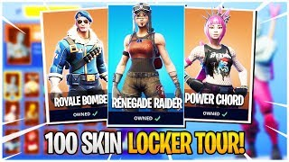 100 SKIN LOCKER TOUR! - Rare Skins, Season 1 Skins Fortnite Locker Tour!