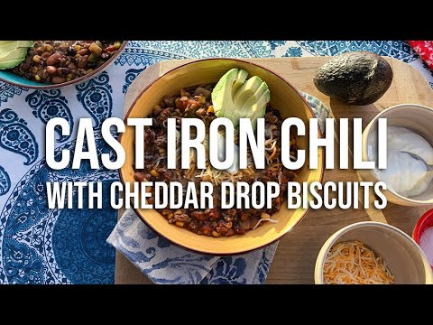 CAST IRON Chili + Cheddar Drop Biscuits | CAMPFIRE COOKING | RV Foodies Ep. 21