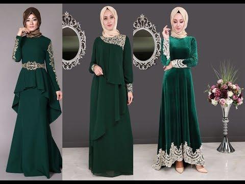 تنسيق الفستان الأخضر مع الطرحة للمحجبات