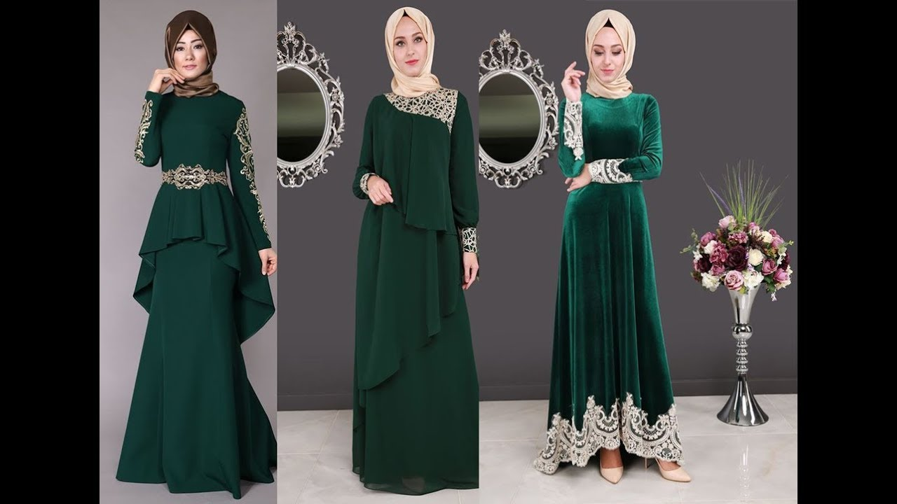 cd47c1992c49c تنسيق الفستان الأخضر مع الطرحة للمحجبات - YouTube