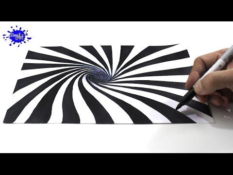 Cómo dibujar una ilusión óptica 3D / How to draw optical illusion ...