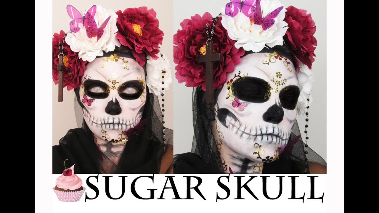 Halloween Make up Sugar Skull CactusCoral  YouTube - Make Up Fr Halloween