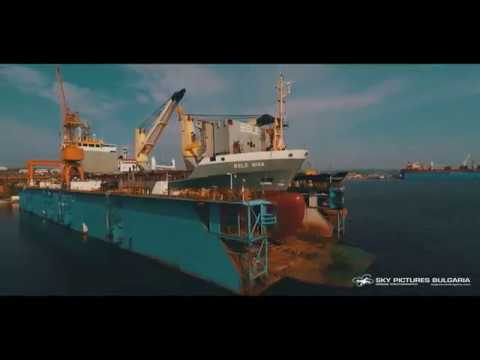 Shipyard shiprepair corporate video using a drone