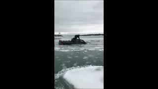 Truck Goes Through The Ice In Lexington Harbor!