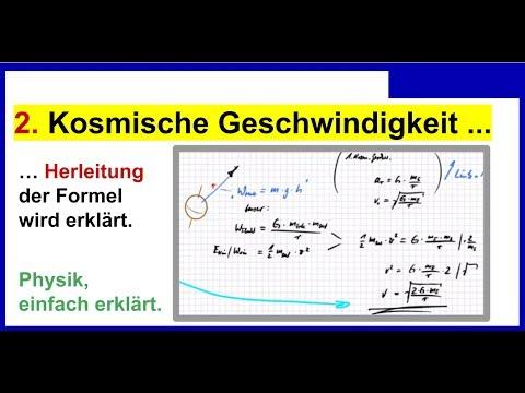 Zweite Kosmische Geschwindigkeit, Herleitung der Formel wird erklärt