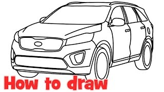 How to draw a car Kia Sorento 2015 step by step for beginners
