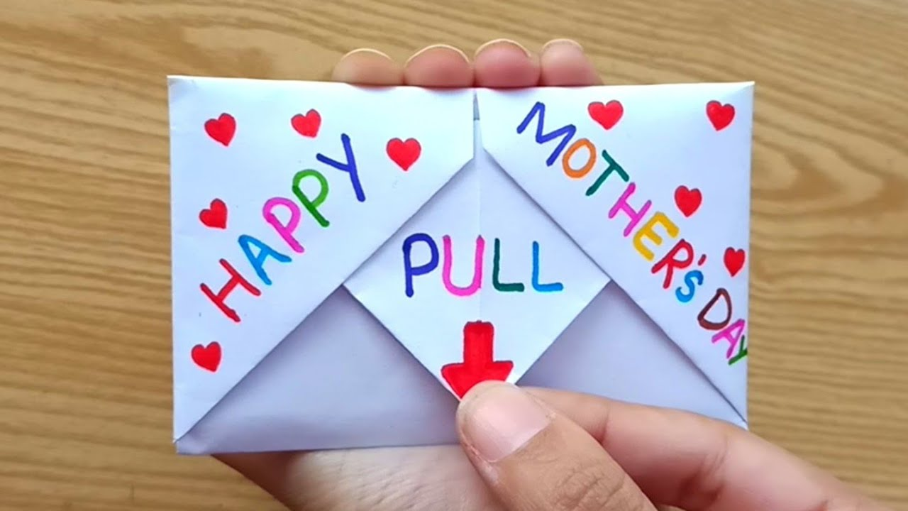 Download DIY - SURPRISE MESSAGE CARD FOR MOTHER'S DAY   Pull Tab Origami Envelope Card   Mother's Day Card
