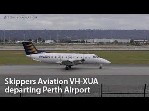 Skippers Aviation (VH-XUA) Embraer EMB-120RT Brasilia departing Perth Airport.