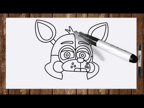 How to draw FNAF Sister Location characters Funtime Foxy face drawing