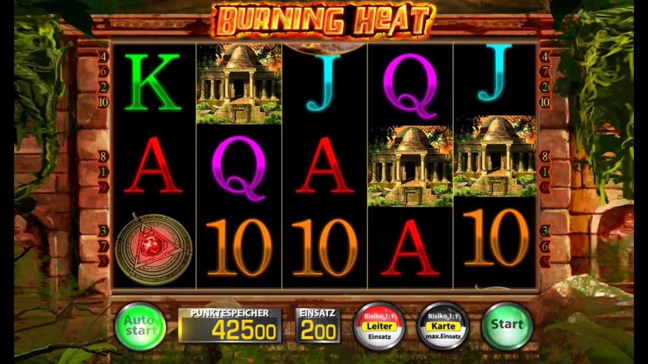 Burning Heat is an exciting slot machine game from Merkur Gaming which takes you straight into an intense adventure exploring volcanoes spurting hot molten lava.This game has an incredible graphics with hours of reel spin excitement and heart pounding chances of winning tons of rewards.