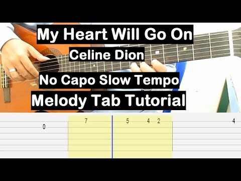 My Heart Will Go On Guitar Lesson Melody Tab Tutorial No Capo Slow Tempo Guitar Lesson For Beginners