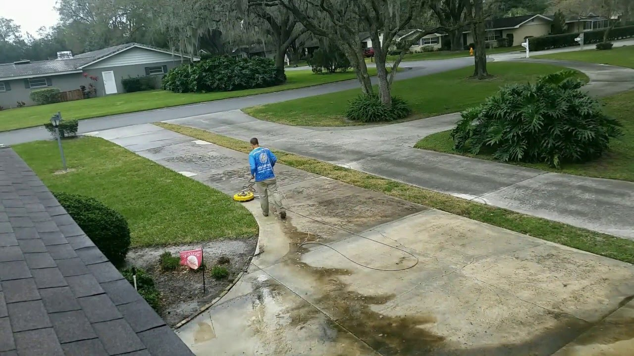 how to clean concrete driveway with pressure washer