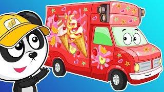 Мультики Про Машинки. Раскрашиваем Фургончик Мороженого. УЧИМ ЦВЕТА с Биби – Развивающий Мультфильм