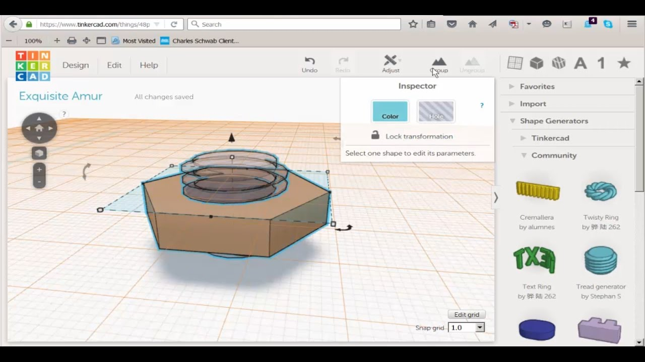 Tinkercad Threaded Hex Nut Youtube
