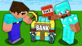 Minecraft Battle: NOOB vs PRO : SECRET SMALL BANK ROBBERY Challenge in Minecraft Animation