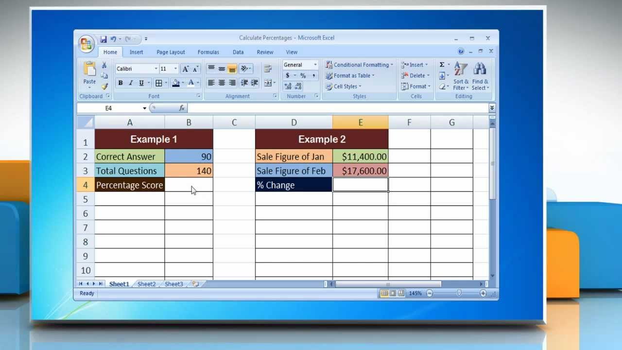 Microsoft® Excel 2007: How to Calculate Percentages in Excel - YouTube