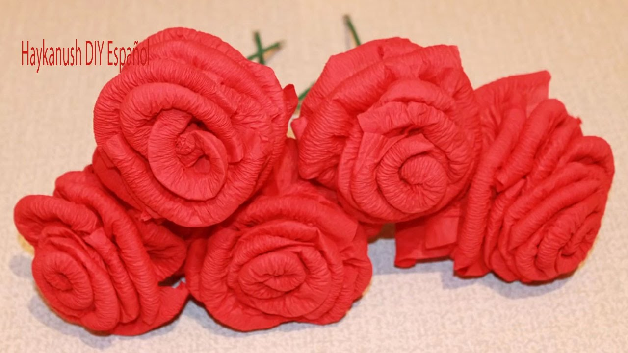 Como hacer rosas de papel servilleta youtube - Como hacer rosas de papel ...