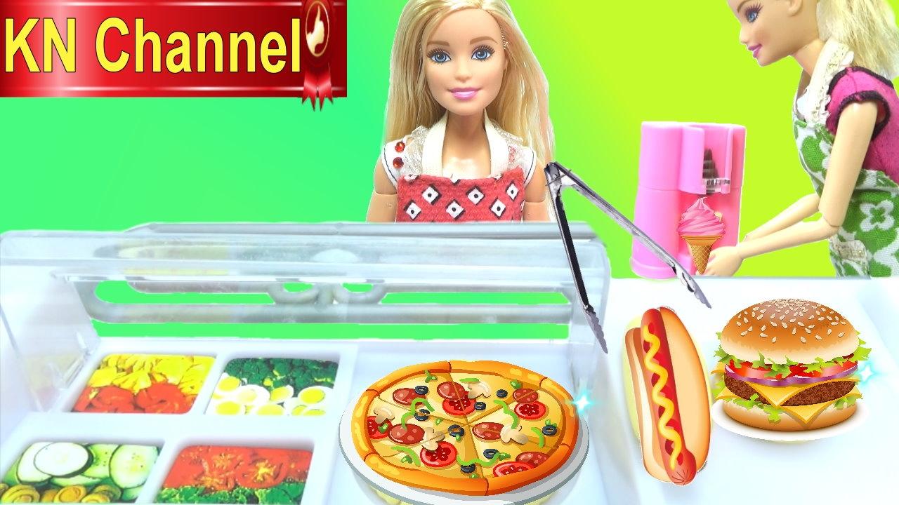 Đồ chơi nấu ăn BÚP BÊ BARBIE ĂN TẠI CỬA HÀNG THỨC ĂN NHANH VÀ KEM barbie doll & baby doll