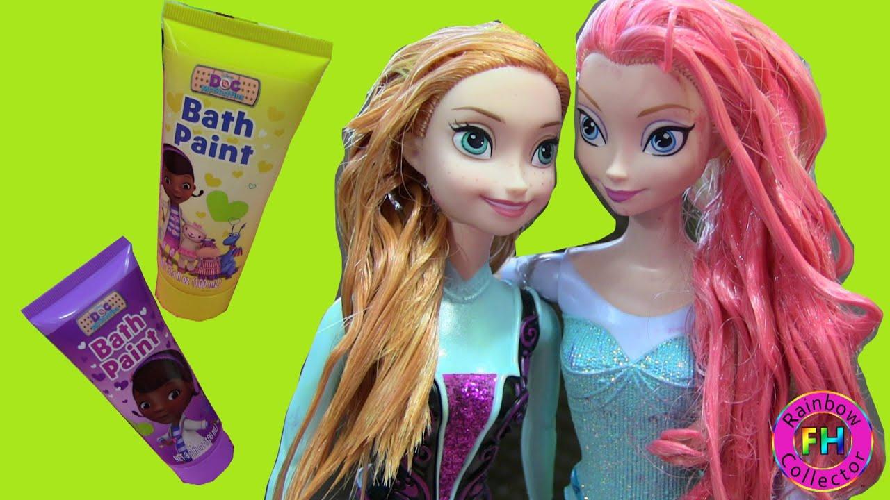 Disney Frozen Elsa Anna Hair Makeover Changing Color Using Bath