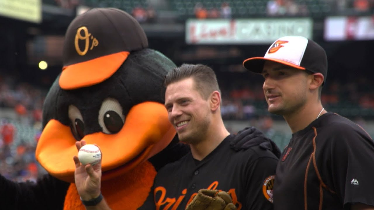 The Miz throws out the first pitch for the Balitmore Orioles