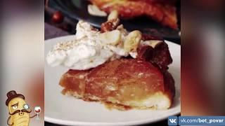 Простой рецепт пирога из запечённых яблок с вином   Гиф-Повар.ру