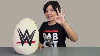Giant WWE Play Doh Surprise Egg John Cena TheRock C3 Figures & FUNKO Vinyl Toys Blind Bags Surprises