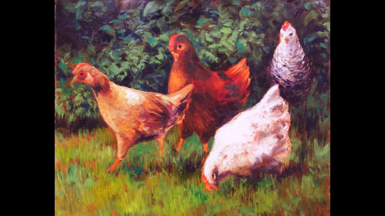 Oil painting workshop Chickens 62