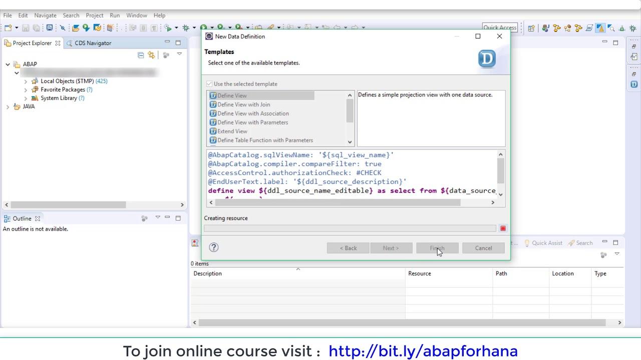 ABAP for HANA - create simple CDS views