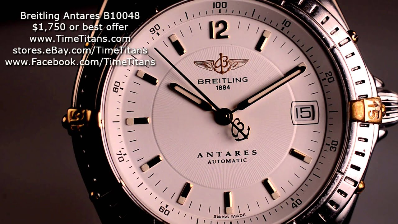 Breitling Antares B10048 18k And Steel White Dial 39mm Automatic Caliber B10 100m