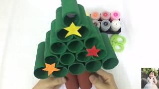 Làm Cây Thông Noel Từ Lõi Giấy Vệ Sinh - Making Christmas tree from core toilet paper