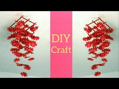 DIY Simple Home Decor→Hanging Flowers Decoration→Make Wind Chimes Using Paper