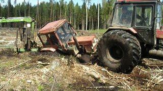 Belarus Mtz 82 stuck in deep mud, saving with Mtz 1025