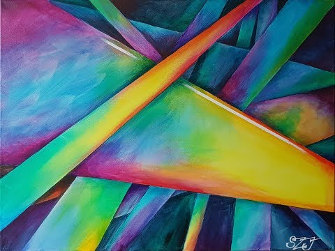 Shattered – abstract acrylic on canvas! Long-ish time-lapse demo.