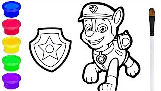 Paw Patrol Chase Drawing and Coloring for Kids